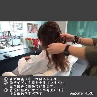 外国人風 ヘアアレンジ 編み込み フェミニン ヘアスタイルや髪型の写真・画像