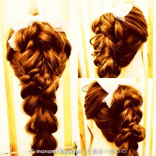 三つ編み ヘアアレンジ ガーリー ロング ヘアスタイルや髪型の写真・画像