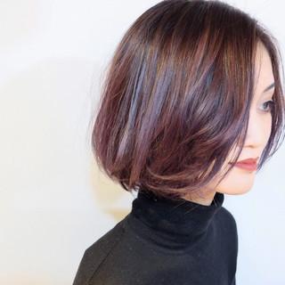 ラベンダーアッシュ エレガント アッシュバイオレット ボブ ヘアスタイルや髪型の写真・画像
