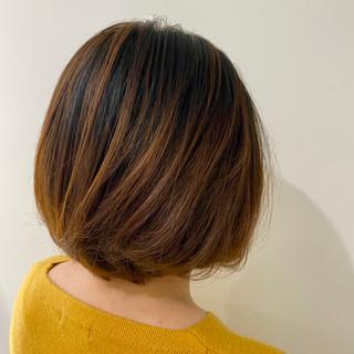 バレイヤージュ 透明感カラー 似合わせカット ボブ ヘアスタイルや髪型の写真・画像
