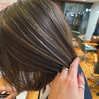 ハイライト ベージュ 外国人風カラー ボブ ヘアスタイルや髪型の写真・画像