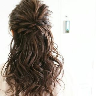 大人かわいい ハーフアップ ゆるふわ ロング ヘアスタイルや髪型の写真・画像