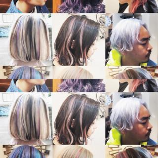 インナーカラー ストリート グラデーションカラー バレイヤージュ ヘアスタイルや髪型の写真・画像