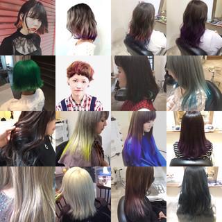 グラデーションカラー 暗髪 ナチュラル アッシュ ヘアスタイルや髪型の写真・画像