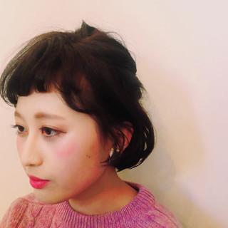 ハーフアップ ヘアアレンジ パーマ ボブ ヘアスタイルや髪型の写真・画像