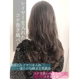 デジタルパーマ イルミナカラー グレージュ アッシュ ヘアスタイルや髪型の写真・画像