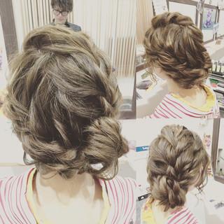 セミロング 編み込み ヘアアレンジ 波ウェーブ ヘアスタイルや髪型の写真・画像