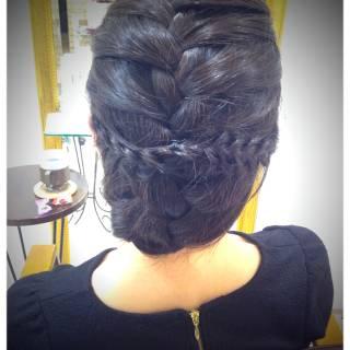 ストリート まとめ髪 ミディアム 編み込み ヘアスタイルや髪型の写真・画像