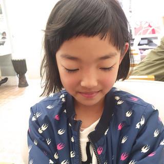 子供 ショートバング 外ハネ ボブ ヘアスタイルや髪型の写真・画像
