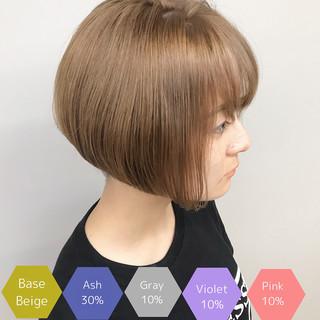 ハイトーンカラー ミルクティーベージュ ダブルカラー サロンモデル ヘアスタイルや髪型の写真・画像