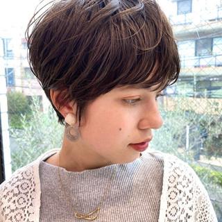 パーマ ショートボブ ショートヘア デジタルパーマ ヘアスタイルや髪型の写真・画像