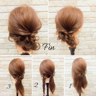 簡単ヘアアレンジ 大人女子 ナチュラル 編み込み ヘアスタイルや髪型の写真・画像