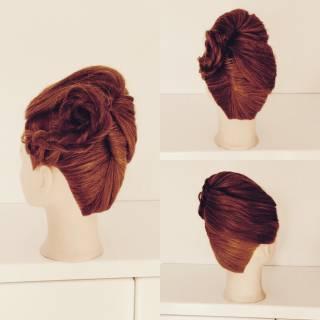 ガーリー アップスタイル ヘアアレンジ セミロング ヘアスタイルや髪型の写真・画像