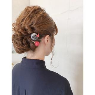 セミロング 夏 ヘアアレンジ 和装 ヘアスタイルや髪型の写真・画像