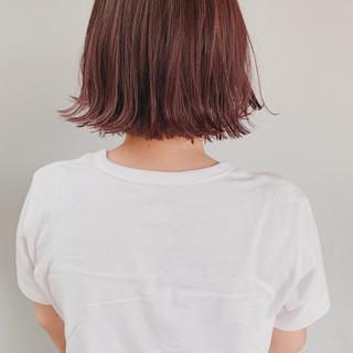 ピンクパープル ボブ ナチュラル ピンク ヘアスタイルや髪型の写真・画像
