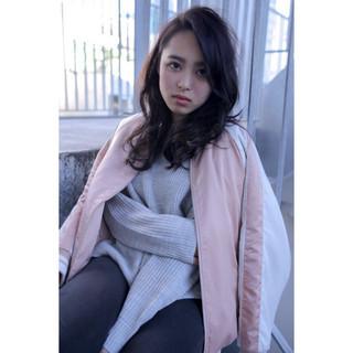 黒髪 斜め前髪 色気 ナチュラル ヘアスタイルや髪型の写真・画像