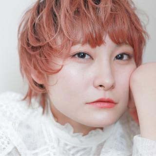 アンニュイほつれヘア ショート ヘアアレンジ オレンジ ヘアスタイルや髪型の写真・画像