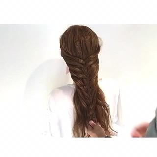 三つ編み 簡単ヘアアレンジ ロング 外国人風 ヘアスタイルや髪型の写真・画像