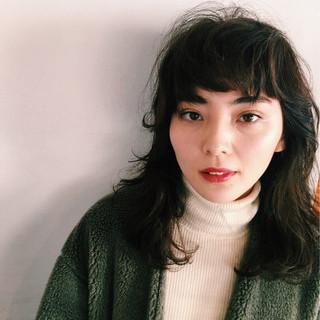 ヘアアレンジ ミディアム ガーリー ニット ヘアスタイルや髪型の写真・画像