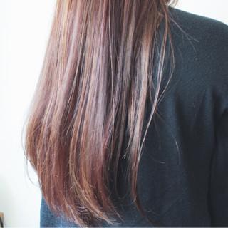 大人女子 ピンク ロング フェミニン ヘアスタイルや髪型の写真・画像