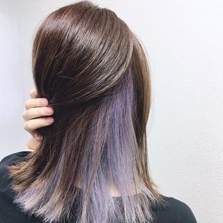 ハイライト ラベンダー ミディアム インナーカラー ヘアスタイルや髪型の写真・画像