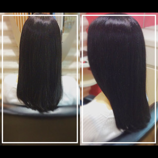 黒髪 ナチュラル 髪質改善トリートメント ロング ヘアスタイルや髪型の写真・画像