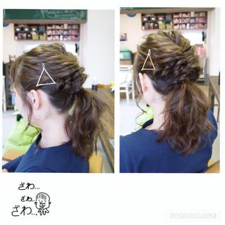 ヘアアレンジ 編み込み ねじり ポニーテール ヘアスタイルや髪型の写真・画像