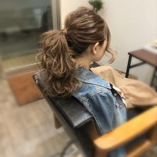 ヘアアレンジ アップスタイル フェミニン ポニーテールアレンジ ヘアスタイルや髪型の写真・画像
