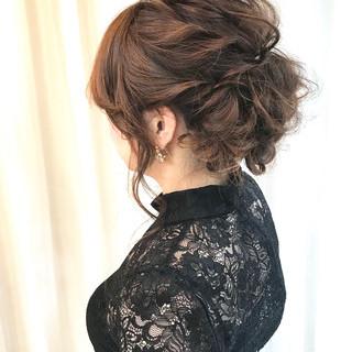 編み込み ナチュラル 結婚式 ボブ ヘアスタイルや髪型の写真・画像