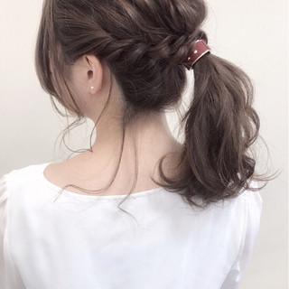 ヘアアレンジ フェミニン 簡単ヘアアレンジ セミロング ヘアスタイルや髪型の写真・画像 ヘアスタイルや髪型の写真・画像