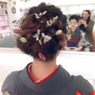 セミロング ヘアアレンジ 謝恩会 パーティ ヘアスタイルや髪型の写真・画像