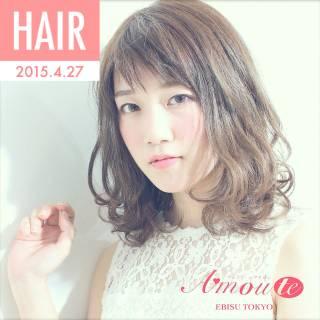 モテ髪 夏 ゆるふわ オン眉 ヘアスタイルや髪型の写真・画像
