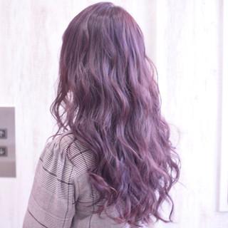 外国人風フェミニン フェミニン ピンクパープル ロング ヘアスタイルや髪型の写真・画像