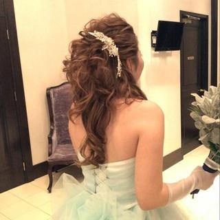 結婚式 ヘアアレンジ 上品 ロング ヘアスタイルや髪型の写真・画像