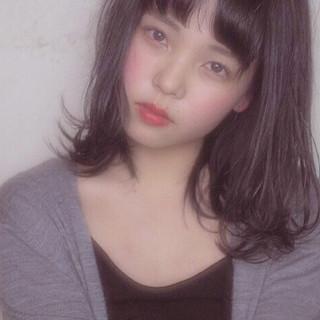 暗髪 レッド ミディアム ナチュラル ヘアスタイルや髪型の写真・画像