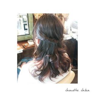 ピンク セミロング 大人かわいい 秋 ヘアスタイルや髪型の写真・画像
