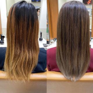 ハイライト セミロング グラデーションカラー ナチュラル ヘアスタイルや髪型の写真・画像