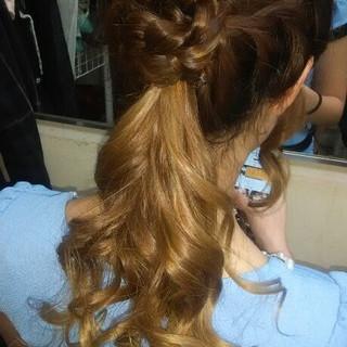 ヘアアレンジ ポニーテール 編み込み ロング ヘアスタイルや髪型の写真・画像 ヘアスタイルや髪型の写真・画像