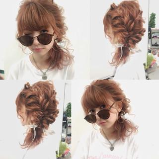 ショート ヘアアレンジ ミディアム 夏 ヘアスタイルや髪型の写真・画像