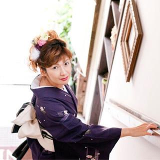ロング エレガント 上品 和服 ヘアスタイルや髪型の写真・画像