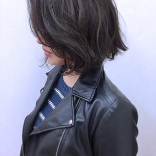 ボブ 大人女子 暗髪 こなれ感 ヘアスタイルや髪型の写真・画像