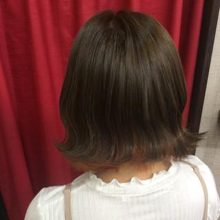 ガーリー インナーカラー ミディアム グラデーションカラー ヘアスタイルや髪型の写真・画像