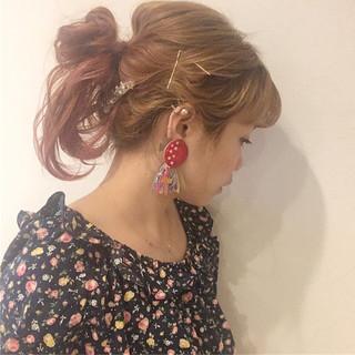 ピンク グラデーションカラー 簡単ヘアアレンジ ヘアアレンジ ヘアスタイルや髪型の写真・画像