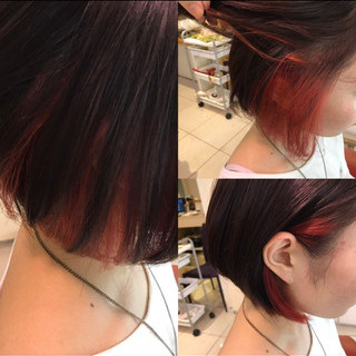 ボブ インナーカラー赤 ブリーチ インナーカラー ヘアスタイルや髪型の写真・画像 ヘアスタイルや髪型の写真・画像