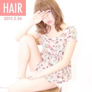 ミディアム 愛され モテ髪 シースルーバング ヘアスタイルや髪型の写真・画像