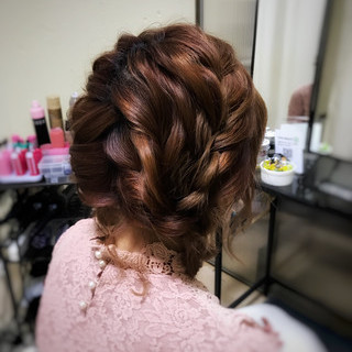 ヘアアレンジ ガーリー 編み込み 三つ編み ヘアスタイルや髪型の写真・画像