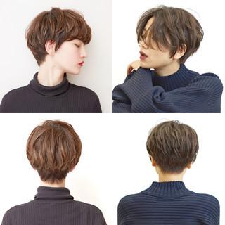 オフィス アンニュイほつれヘア ショート デート ヘアスタイルや髪型の写真・画像