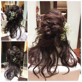 花 ヘアアレンジ エレガント セミロング ヘアスタイルや髪型の写真・画像