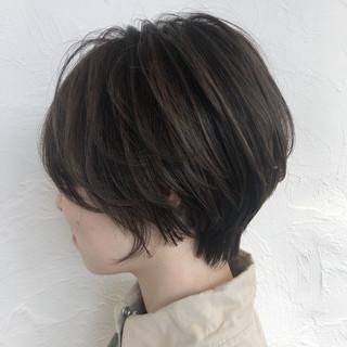 大人ショート ショート 透明感カラー ハイライト ヘアスタイルや髪型の写真・画像