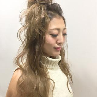 ロング グラデーションカラー ショート ハーフアップ ヘアスタイルや髪型の写真・画像